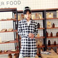 Free shipping! New men's decadent dark Harajuku mash essential long casual plaid shirt