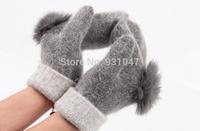 10 pair Quality 100% Wool and Rabbit Fur Women's Gloves Mitten Fashion Wrist Warm Winter Hand Wrist Gloves