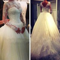 Vestidos De Novia New Arrival Elegant High Neck Long Sleeve Beaded Lace Ball Gown Muslim Wedding Dresses 2014 Wedding Gowns