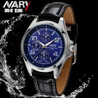 Nary luxury brand Numeral Black Leather Wristwatches Men Fashion Hour Marks wathes Quartz Wrist Watch relogio masculino
