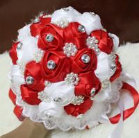 Handmade Ribbon Wedding Red Bouquet  Fine Work Decorative Artificial Silk Rose flower Bride Bridal Crystal Wedding Bouquets