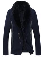 Woolen blends suits Winter cloth dust coat Casual coats man Long style Fur collar Winter clothes Drop shipping New 2014