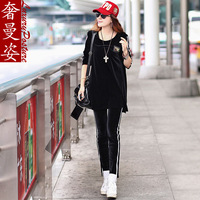 2014 spring new arrival loose casual sports long-sleeve o-neck velvet twinset set vestidos