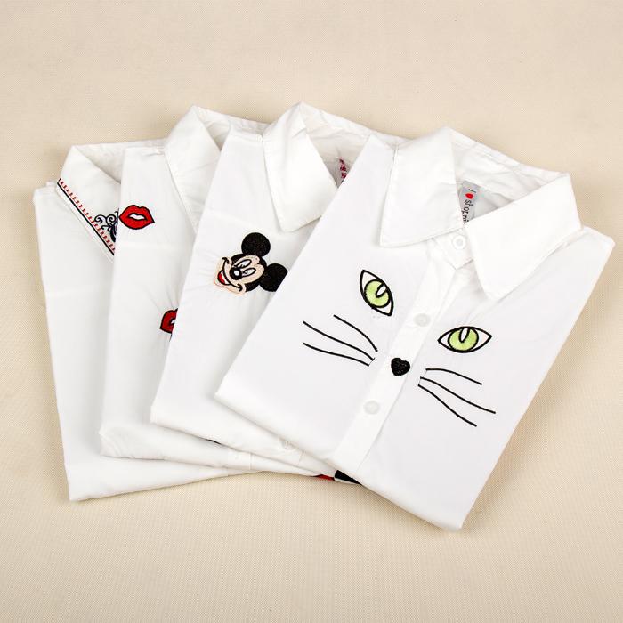 Autumn female long-sleeve 100% short-sleeve cotton shirt white fresh turn-down collar embroidery basic shirt(China (Mainland))