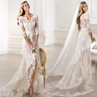 E53 2014 fashionable white bride lace wedding dress front short long back hi-lo bridal gown custom vestido de noiva casamento