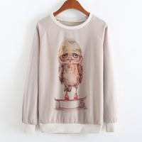 New 2015 Autumn and winter Casual Long sleeve Hoodies Sweatshirts Stay parrot printing women Hoody sport swearshirt sportwear