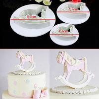 Free shipping 3PCS Wooden horse shape mold sugar Arts set Fondant Cake tools/cookie cutters
