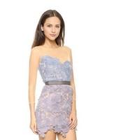 Elegant Hollow Lightweight Sheer Collage Women Lace Dress Contrast Color Halter Party Dress