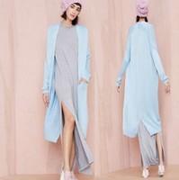 Fall Fashion Loose Knit Long Cardigan Long Slit Pocket Sweater Women Casual Knitted Shirt