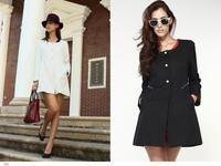 casacos femininos Fashion 2014 White Black Ladylike Korean Style Jacquard Coat  blazer women sobretudo feminino