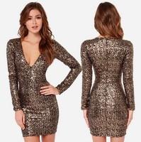 Luxury Metallic Sequins Embroidery Mini V-neck Long Zipper Pencil Dress Slim Casual Bodycon Dress Women Club Wear