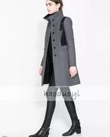 new 2014 women grey woolen patchwork PU medium-long trench coat outerwear patchwork woolen overcoat for wholesale freeshipping