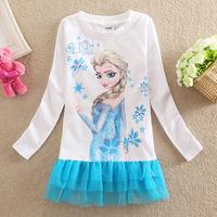 2014 Autumn Girl's Princess Dress New Frozen Dress Baby kid's Casual Dresses 3-8Y Girls Mesh Dress