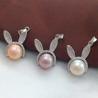 925 Lovely Rabbit Pendant Cultured Freshwater Pearl Pendant Real Pearl Pendant Necklace Women New Year Gifts Christmas Presents