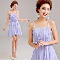 Sweet & Fashion Blue Spaghetti Straps Handmade Flowers Pleated Bridesmaid Dress/Prom Dress 722
