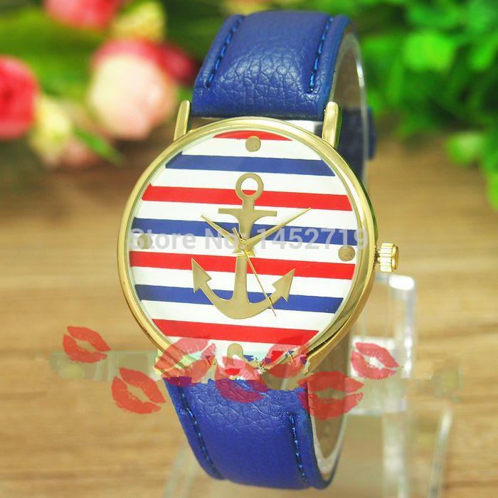 Great! 2014 new fashion color horizontal stripes belt table breaks down arrow Geneva couple quartz watches wholesale(China (Mainland))