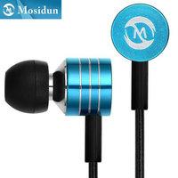 Mosidun M12 3.5mm In Ear Metal Headset Headphone Blue Metal Earphone With Mic Microphone For Iphone Samsung HTC Mobile Phone