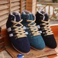 Hot sale!! male winter  plus cotton martin shoes fashion casual Round Toe plus size men Boots Lace up Rivets snow boots men