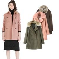 2014 Brand New Fashion ZA Women Autumn Winter Fur Collar Coat Woolen Cashmere Outerwear Pink Army green Casual Jacket Free ship