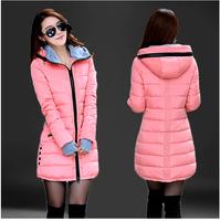 Women's Cotton-Padded Jacket 2014 WINTER Medium-Long Down Cotton Plus Size ZIPPER Jacket Female Slim Ladies JACKETS and COATS