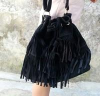 2014 HOT Faux Suede Fringe Tassel Shoulder Bag Womens Handbags Messenger Bag free shipping ZFC336