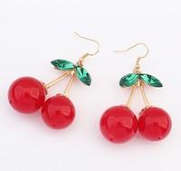 Woman fashion 18K gold earrings hot leafy cherry earrings 105924