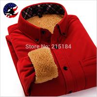 Thicken fur mens plaid shirts male plus thickening long-sleeve Warm shirt Men's fleece thermal Winter shirt Big size S - 4XL
