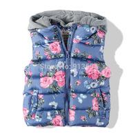 new 2014 autumn winter jacket kids clothes children's vest baby girls casual hooded vest coat child floral cotton waistcoat