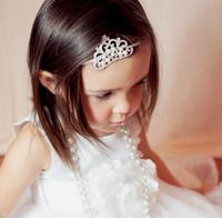 New Baby Kids Shining Rhinestone Pearls Crown Slim Hairwrap Headwrap