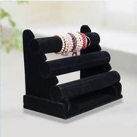 FREE SHIPPING 2014 New Black 3-Tier Velvet Watch Bracelet Jewelry Display Stand Holder Rack #DJW38