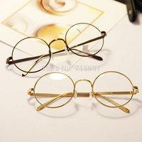 Lovey Fashion Men/Women Metal Round Frame Glasses Myopia Optical Eyeglasses Frame Vintage Plain Mirror Prescription Eyewear