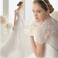 2015 New Arrival Goddess Style V-neck Short Sleeves Skinny Lace Trailing Wedding Dress 727