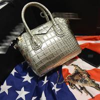 2014 fashion blocks crocodile handbags personality bright smiley face Europe stone bat women messenger bags D-805 #
