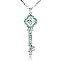 LB-0183,925 silver-plated key jewelry key pendant joyas joyeria bijouterie Colgante Collar with zircon or crystal nickel free