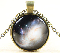 Colorful Galaxy Universe Glass Cabochon Pendants Necklaces Jewelry Christmas Gift For Men Women