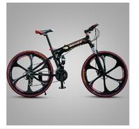 Full suspension mountain bike double disc brakes folding mountain bike 26-inch dual-damping overall wheel free shipping