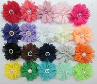 "Free Shipping New  Hot Sale 2.75"" pearl rhinestone Chiffon Flower Clips wholesale ,30pcs/lot :"
