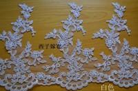Extra wide 28 cm mesh corded lace trim Upscale bridal lace white lace