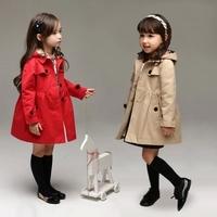 2014 children's female autumn child clothing british style small child cap medium-long trench children's clothing outerwear