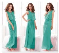 New 2014 Summer Bohemian Women Chiffon Ankle-Length Long Dresses Sleeveless Vest Dress Vestidos, 4 Color, S, M, L, XL