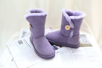 New 2014 women shoes genuine Leather mid-calf solid boots with botton winter women boots snow boots 10 colors plus size 35-44