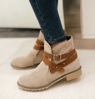 2014 new autumn buckle BIG SIZE women ankle boots Black Brown Beige color square heel flats sapatos femininos suede bota shoes