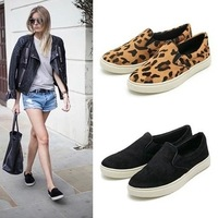 Fashion 2014 autumn leopard print canvas shoes female low platform pedal shoes lazy shallow mouth shoes women's shoes