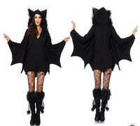 2014 new Halloween masquerade vampire ladies cosplay clothing black Batman game uniforms costumes wholesale free shipping