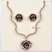 18K Rose Gold Plated Beautiful Rose Flower Sterling Austrian Crystal Pave Necklace Set NK088