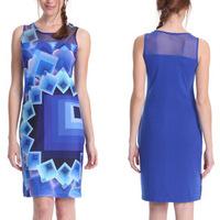 New 2014 Summer Sexy Fashion Women Nightclub Print Patchwork Sleeveless Tank Sheath Dress Vestidos, S, M, L