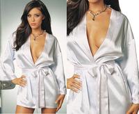 New 2014 Sexy Women Lady Lingerie Babydoll Pajamas Sleepwear Dress with Sashes, White, Size Free