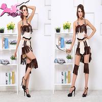 christmas costume New Arrival Gypsy Khaki Disfraces Fantasia Tassel Dress halloween costumes for women Sexy cosplay XHS030