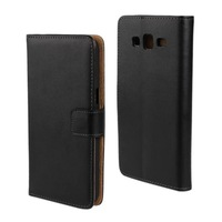 1PCS,2014 New Luxury Black Genuine Flip Leather Wallet Case Stand Cover For Samsung Galaxy Grand 2 G7109 Mobile Phone Case Bag