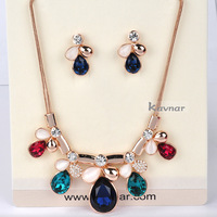 Fashion Mutil-Color Crystal 18K Rose Gold Plated Necklace and Earring Set African Jewelry Sets Free Shipping NK041